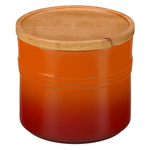 Le Creuset Flame Stoneware 1.5 Quart Canister with Wooden Lid
