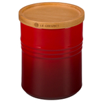 Le Creuset Cherry Stoneware 2.5 Quart Canister with Wooden Lid