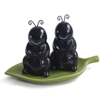 Grasslands Road Happy Ant Salt and Pepper Shaker Set with Leaf Base