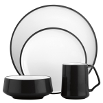 Dansk Kobenstyle Black and White 4 Piece Dishware Place Setting