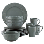 Dansk The Burbs Carved Slate 16 Piece Dinnerware Set