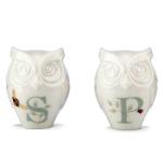 Lenox Butterfly Meadow Figural Owl 2.5 Inch Salt and Pepper Shaker Set