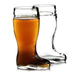 Stolzle Biersiefel 1 Liter Glass Beer Boot, Set of 2