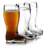 Stolzle Biersiefel 1 Liter Glass Beer Boot, Set of 3