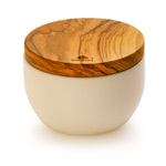 Berard Concrete and Olive Wood 4.75 Inch Round Salt Keeper