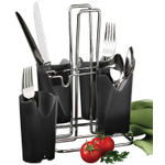 Prodyne Chrome Flatware Caddy with Smoke Black Compartments