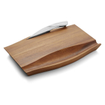 Nambe Drift Stainless Steel 9.5 Inch Cheese Knife with Acacia Wood Cheese Board