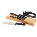 Wusthof Gourmet 8 Piece In-Drawer Tray Knife Storage Set with Bonus Two-Stage Sharpener