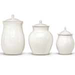 Lenox French Perle White Stoneware 3 Piece Canister Set
