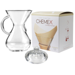Chemex Glass 40 Ounce Coffee Maker with Cover and 100 Count Bonded Unbleached Pre-Folded Square Coffee Filters