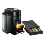 Nespresso VertuoLine Evoluo Deluxe Piano Black Coffee and Espresso Maker with Bonus 40 Capsule Storage Drawer