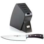 Wusthof Black Studio 6-Slot Knife Block with Ikon Blackwood 8 Inch Cook's Knife