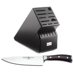 Wusthof Black 17-Slot Knife Block with Ikon Blackwood 8 Inch Cook's Knife