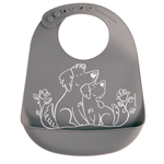 Modern Twist Puppy Love Gray Silicone Bucket Bib