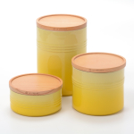 Le Creuset Soleil Stoneware 3 Piece Canister with Wooden Lid Set
