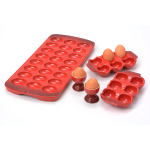 Le Creuset Cerise (Cherry Red) Stoneware 5 Piece Egg Collection