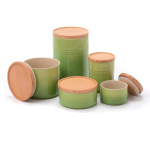 Le Creuset Palm Stoneware 5 Piece Canister with Wooden Lid Set