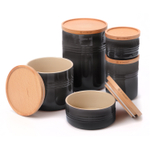 Le Creuset Black Stoneware 5 Piece Canister with Wooden Lid Set