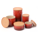 Le Creuset Cerise (Cherry Red) Stoneware 5 Piece Canister with Wooden Lid Set