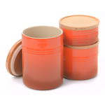 Le Creuset Flame Stoneware 3 Piece Canister with Wooden Lid Set