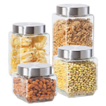 OGGI Glass 4 Piece Canister Set with Stainless Steel Lids