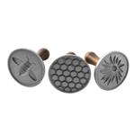 Nordic Ware Cast Aluminum Honey Bees 3 Piece Cookie Press Stamp Set