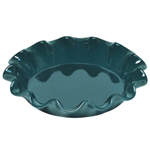 Emile Henry Blue Flame Ceramic 10 Inch Ruffled Pie Dish
