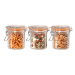 OGGI Glass 3 Piece Round Canister Set with Silicone Gasket Clamps