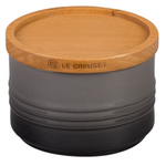 Le Creuset Oyster Stoneware 12 Ounce Canister with Wooden Lid