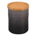Le Creuset Oyster Enameled Stoneware 22 Ounce Canister with Wood Lid
