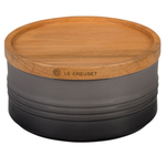 Le Creuset Oyster Enameled Stoneware 23 Ounce Canister with Wood Lid