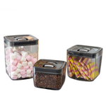 Click Clack Black and Silver 3 Piece 1, 2, and 3.5 Quart Space Cube Dry Food Container Set