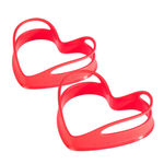 Mastrad Red Silicone Heart-Shaped Egg Shaper, Set of 2