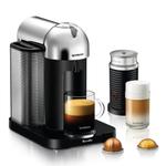 Breville Nespresso Vertuo Chrome Espresso and Coffee Machine Bundle with Aeroccino Milk Frother