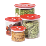 Oggi Stack 'N Store 4 Piece Red and Acrylic Canister Set