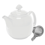 Chantal Tea for Four White 1.5 Quart Teapot with Stainless Steel Infuser