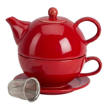 Omniware Red Ceramic Tea for One with Infuser