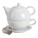 Omniware White Ceramic Tea for One with Infuser