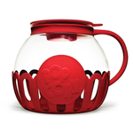 Ecolution Kitchen Extras Borosilicate Glass 1.5 Quart Popcorn Popper with Red Lid and Protective Holder