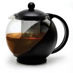 Primula Black Half Moon Teapot Gift Set with 3 Flowering Teas