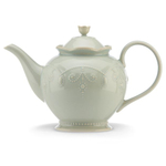 Lenox French Perle Ice Blue Stoneware 48 Ounce Teapot