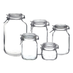 Bormioli Rocco Fido Clear Glass 5 Piece Canning Jar Set