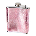 Oggi Stainless Steel Pink Glitz 6 Ounce Hip Flask