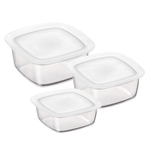 Bormioli Rocco Frigoverre 3 Piece Square Glass Food Storage Container Set with Frosted Lids