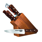 Victorinox 7 Piece Stainless Steel and Rosewood Knife Set with Hardwood Knife Block