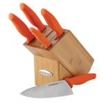 Rachael Ray 6 Piece Orange Japanese Steel Knife and Bamboo Block Set