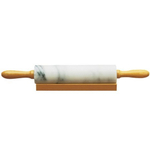 Fox Run White Marble Rolling Pin with Wooden Base