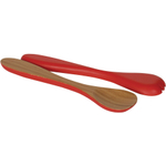 Island Bamboo Hue Red Salad and Pasta Hand Server Set