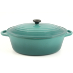 Serving Oval Soup Pot with Lid Caribbean Blue 11.5 Inch