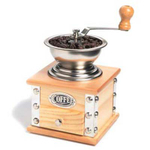 Antique Look Wood & Stainless Steel Coffee Grinder with Hand Crank